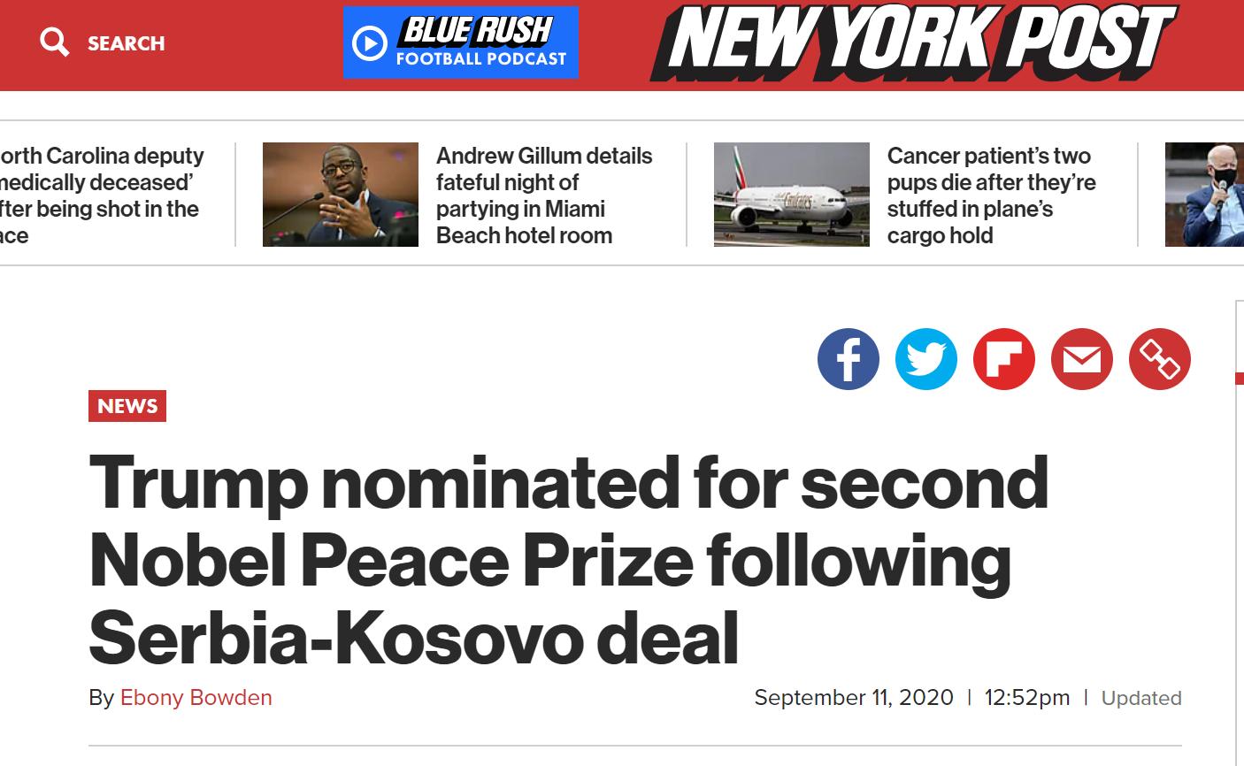 【快猫网址专家】_外媒:特朗普获得今年第二个诺贝尔和平奖提名