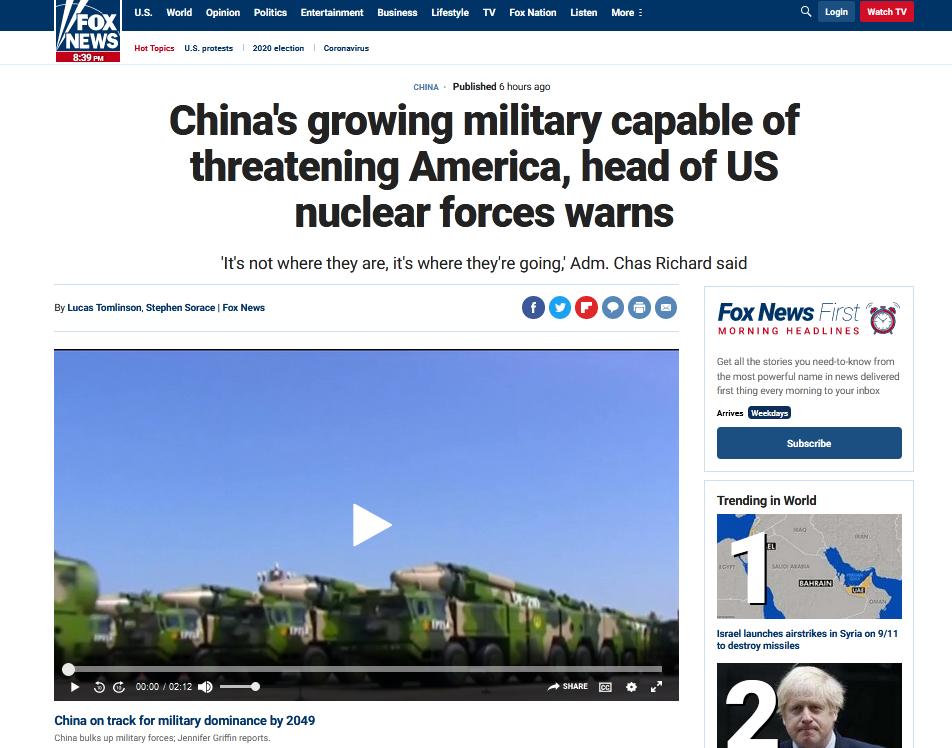 福克斯报道:美国核力量负责人警告说,中国日益增强的军事能力足以威胁美国