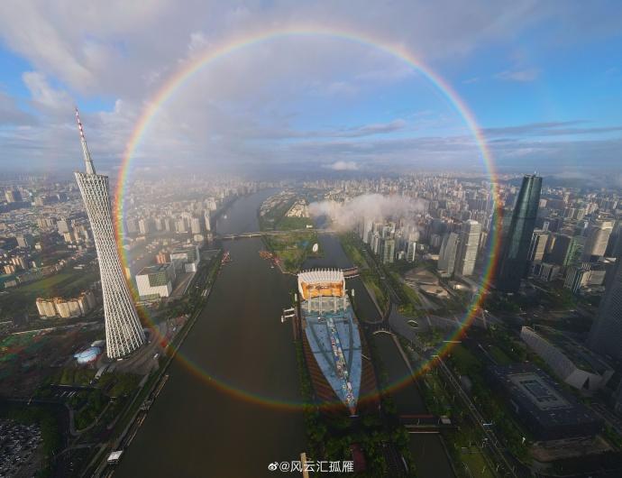 完整彩虹圆环。微博用户@风云汇孤雁供图