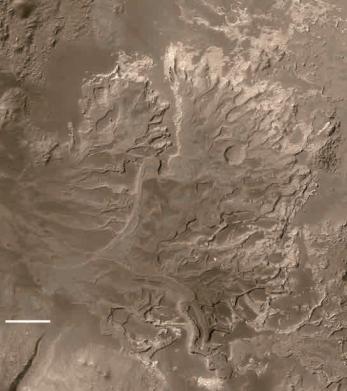 位于霍顿撞击坑(Holden Crater)附近的网状河谷(图片来源:维基百科)