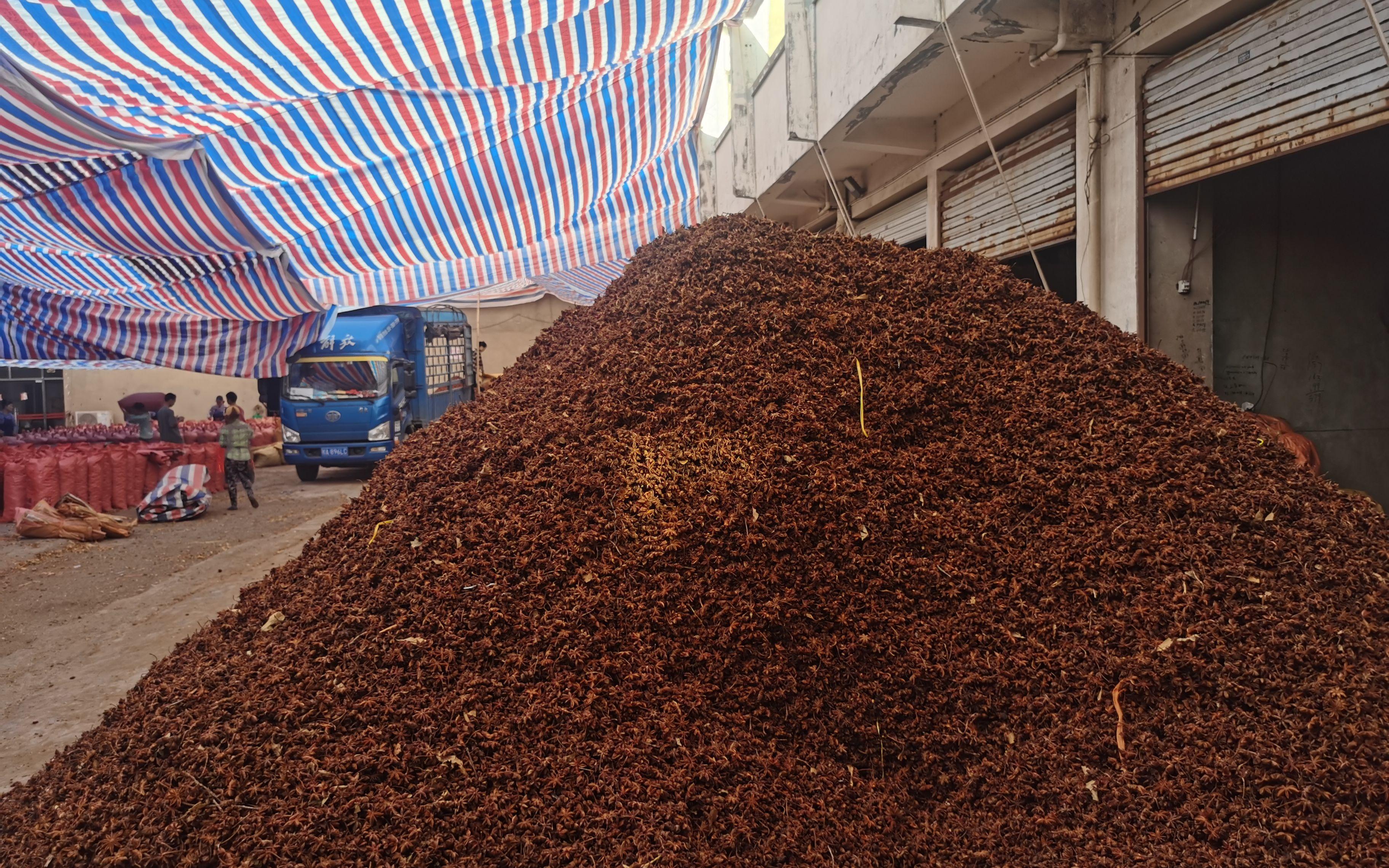 广西南宁市高峰天然香料物流中心内店铺前堆放的八角,这批八角均被硫磺熏过,有强烈的刺激性味道。新京报记者 王瑞文 摄