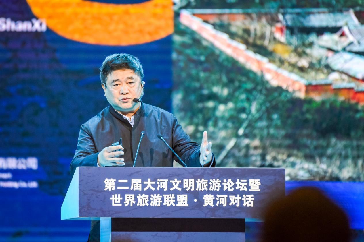 """图为单霁翔在""""第二届大河文明旅游论坛""""发表演讲。新华网 摄"""