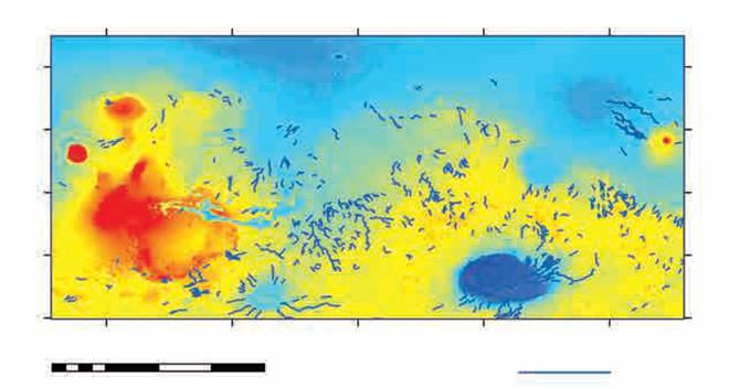 火星表面较大的网状河谷分布图(图片来源:《火星科学概论》)