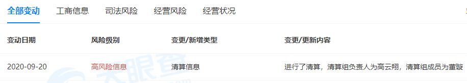 高云翔清算旗下公司,清算组成员为高云翔、董璇两人