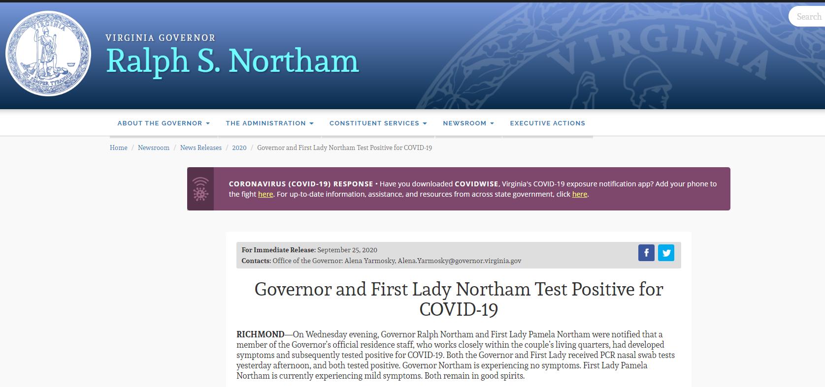 【幽月儿】_美国弗吉尼亚州长及其夫人感染新冠病毒