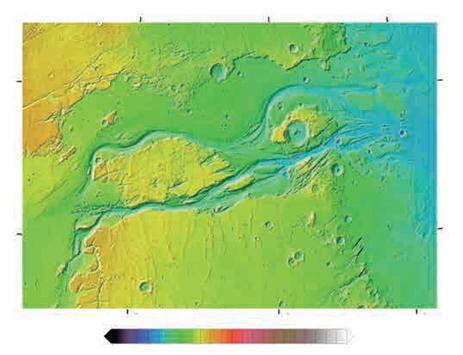 """火星上最大的外流河道""""卡塞谷""""(图片来源:维基百科)"""
