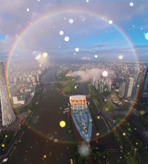 罕见!广州天空出现全圆形彩虹 还是霓虹双显