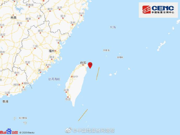 【刷搜搜下拉框】_台湾宜兰县海域发生5.0级地震 震源深度116千米