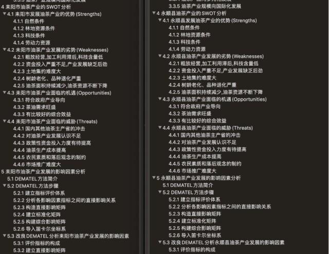 两篇论文目录仅地名耒阳市、永顺县不同,其余完全一致。左为王文绪论文目录,右为龙莉论文目录。图片均来自 澎湃新闻记者 于希 图