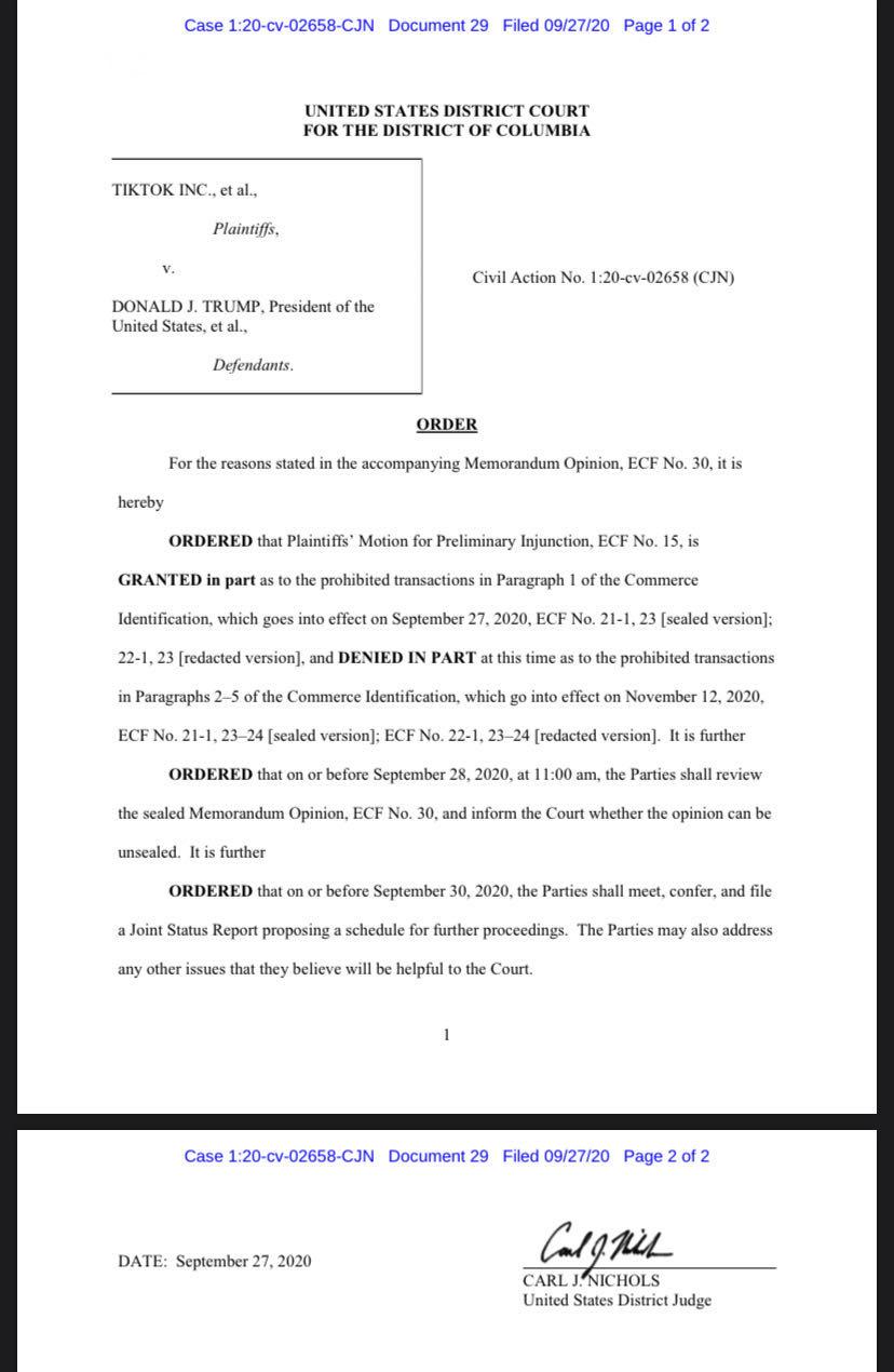 【信阳久久热在线】_美国联邦法官叫停特朗普对TikTok的禁令
