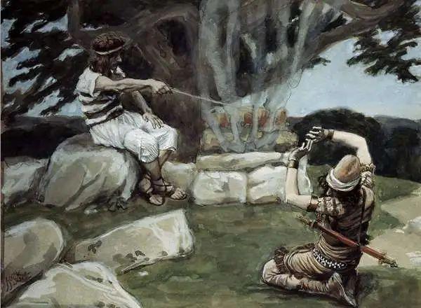 《圣经·旧约》中的以色列英雄基甸跪倒在耶和华面前