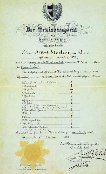 诺贝尔奖官方公布爱因斯坦成绩单 高中数学不好?不存在!