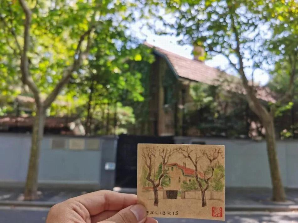 罗雪村先生所绘藏书票。图片来源:巴金故居