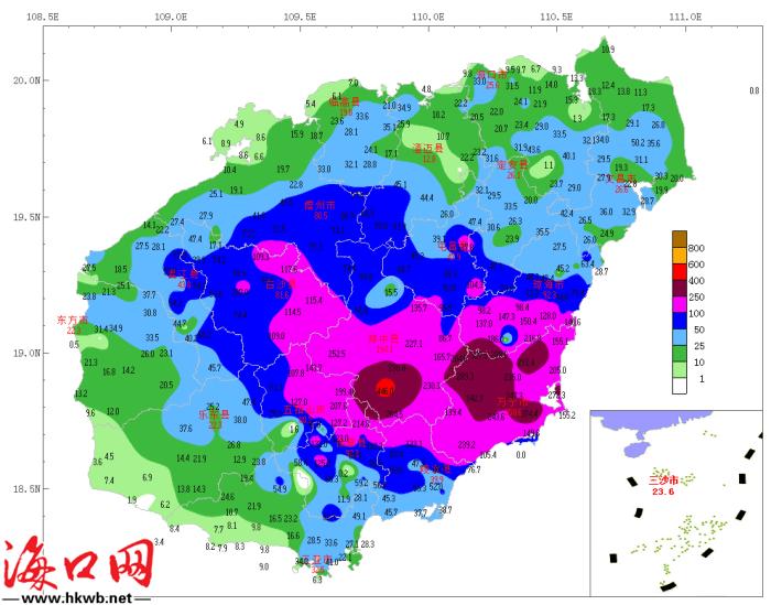 10月15日20时~17日7时全岛雨量。图片来源:海南省气象台