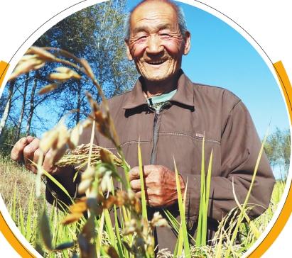 满脸丰收喜悦的稻农。
