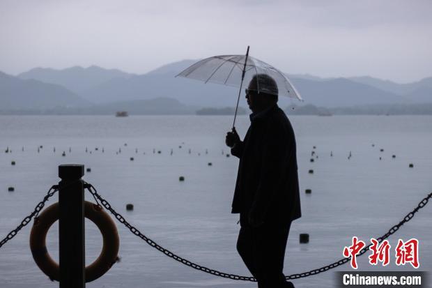 杭州西湖边撑伞的行人。 汪旭莹 摄