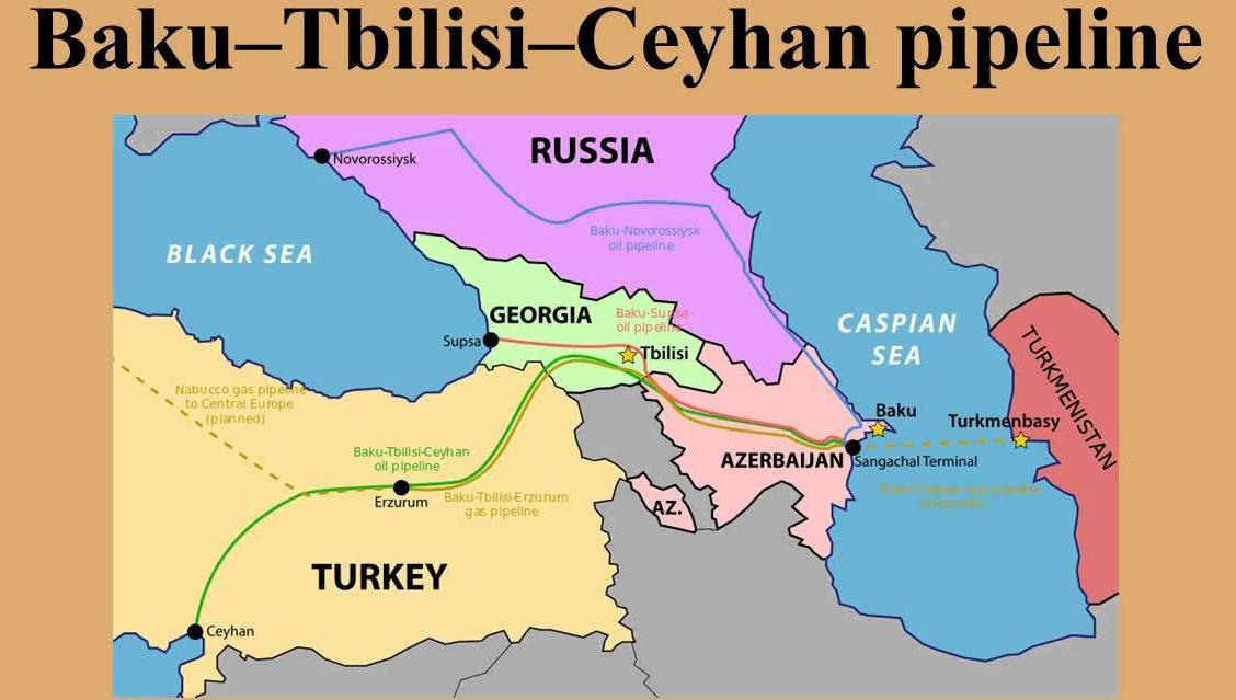 2005年,阿塞拜疆绕过俄罗斯,建设了连通土耳其东地中海沿岸城市杰伊汉的原油管线,即BTC管线。