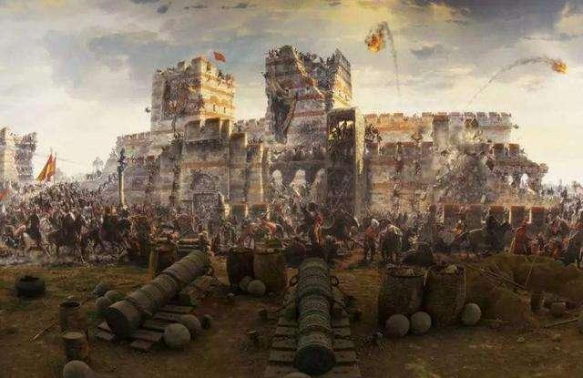 1453年君士坦丁堡之战油画,奥斯曼土耳其攻占了拜占庭帝国首都君士坦丁堡并将之更名为伊斯坦布尔。