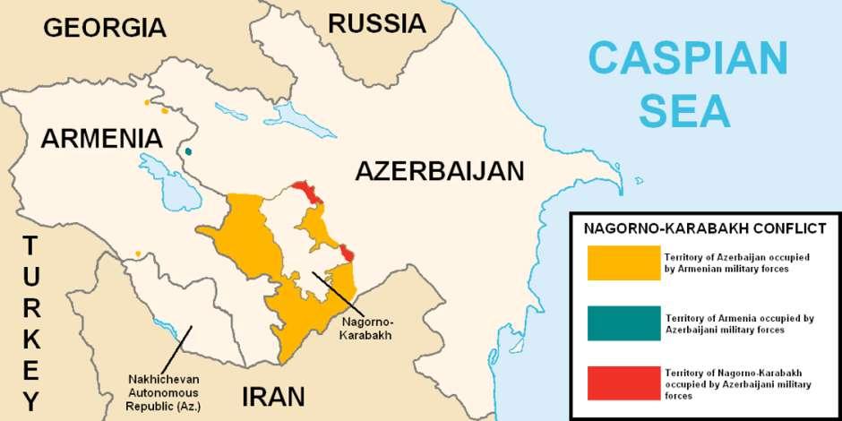 图中大面积橘黄色部分为亚美尼亚占领的本应属于阿塞拜疆的纳卡地区。