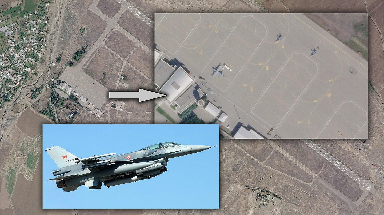 卫星图像显示,阿塞拜疆甘加国际机场出现至少两架F-16战斗机