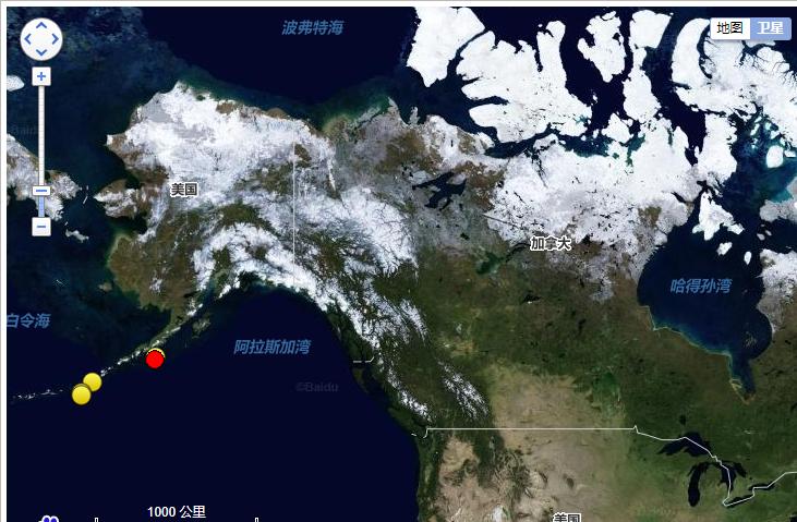 【雪朗团队】_美国阿拉斯加州以南海域发生7.5级地震