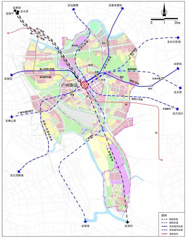 广州南站轨道交通图。图片来源网络