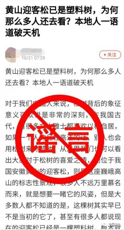 """【迪士尼国际】_黄山景区官方辟谣:""""迎客松为塑料树、假树""""等系不实信息"""