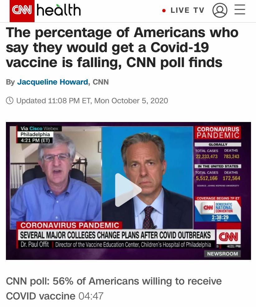 CNN报道,未来愿意接种新冠疫苗的美国人比例正在下降