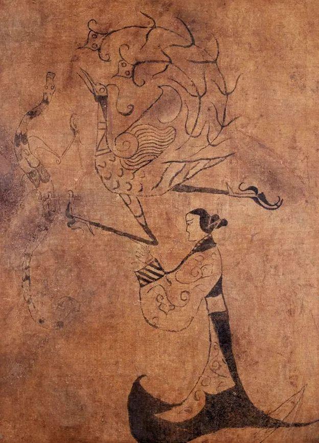 战国中晚期 龙凤仕女图 湖南省博物馆藏