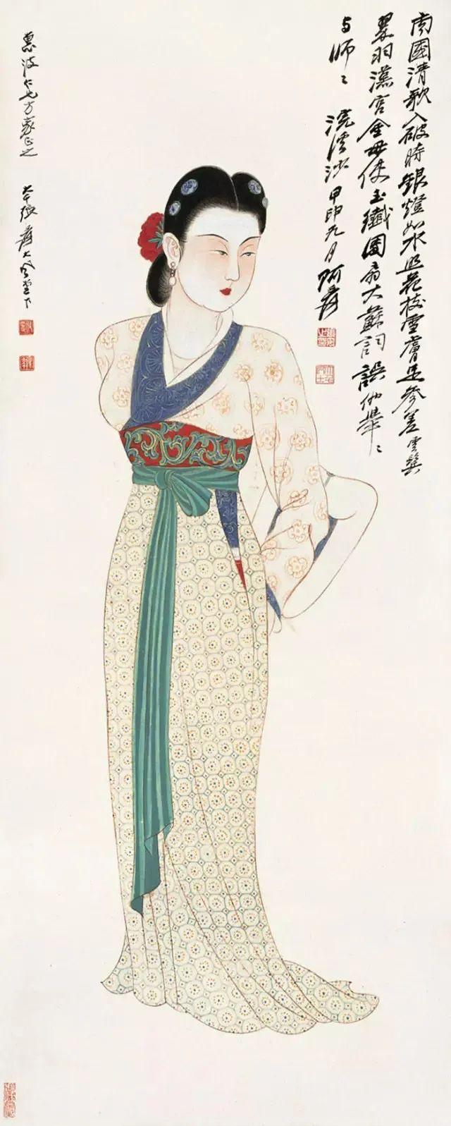 张大千 唐妆仕女图 1944 私人收藏