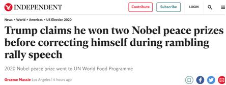 """【btc中国】_特朗普""""口误""""称自己两次获诺奖,网友:到底是多想要这个奖"""