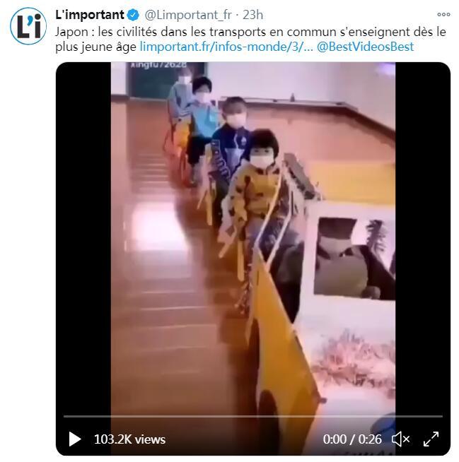 法国网站夸日本的公共交通文明教育,配的却是中国幼儿园的视频