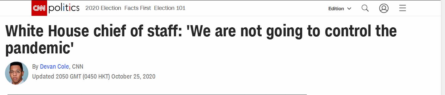 白宫办公厅主任:我们不会去控制(新冠)疫情