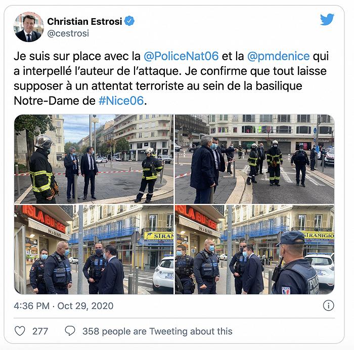 法国尼斯持刀袭击已致3死 一名女子被斩首