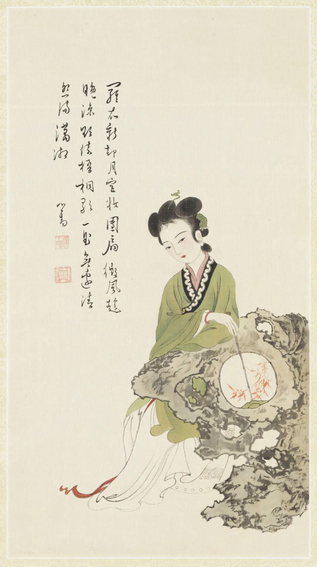 民国 溥心畬 纨扇仕女 台北故宫博物院藏