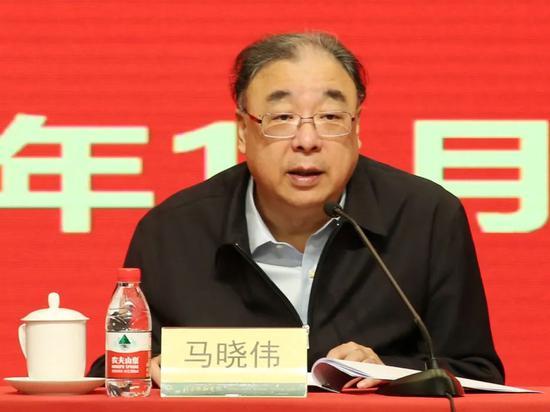 ▲国家卫生健康委党组书记、主任马晓伟同志讲话。
