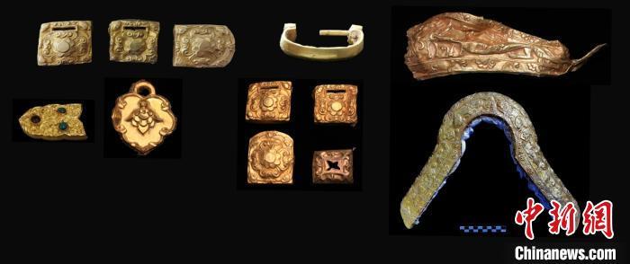 青海都兰热水2018血渭一号墓出土的金器。青海都兰热水联合考古队供图
