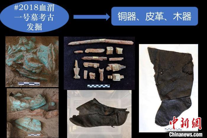 青海都兰热水2018血渭一号墓出土的铜器、皮革、木器等。青海都兰热水联合考古队供图