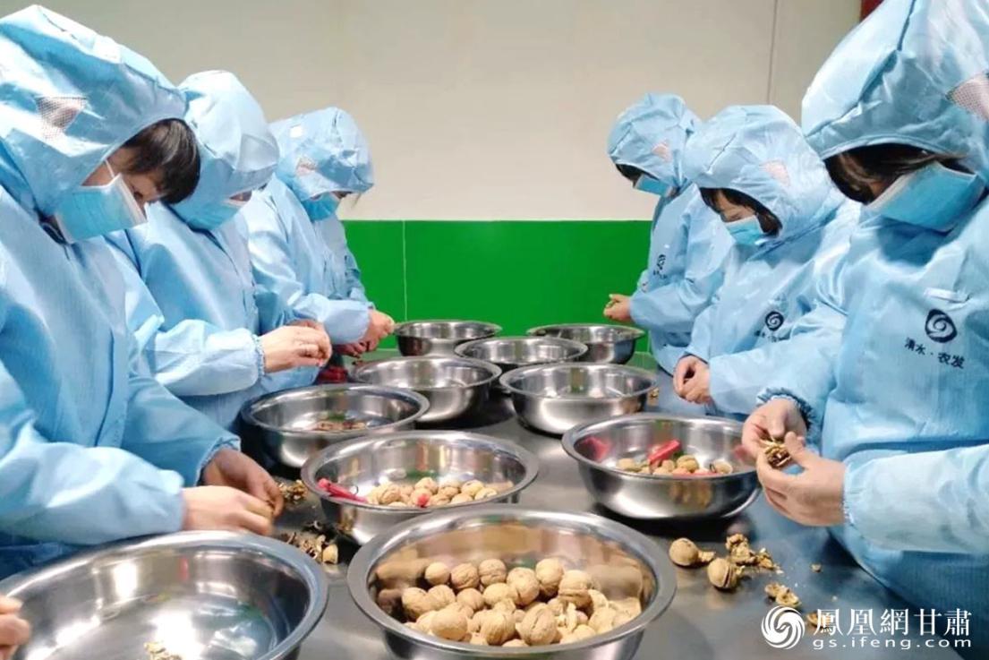 天水市清水县农发公司员工加工核桃,依托专业合作社实现脱贫。甘肃省供销联社供图