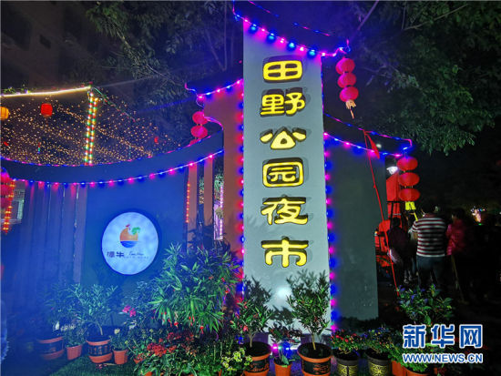 11月9日晚,海南省文昌市潭牛镇田野公园夜市热闹开市。新华网发