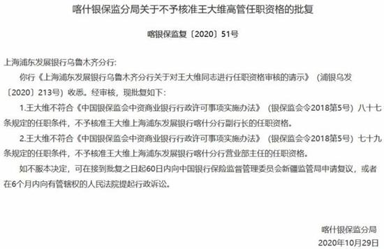 浦发银行喀什分行拟任副行长、营业部主任王大维任职资格被否