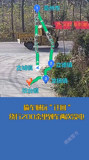 """亳州一偷车贼玩""""迂回""""绕行200余里到车两次没电"""