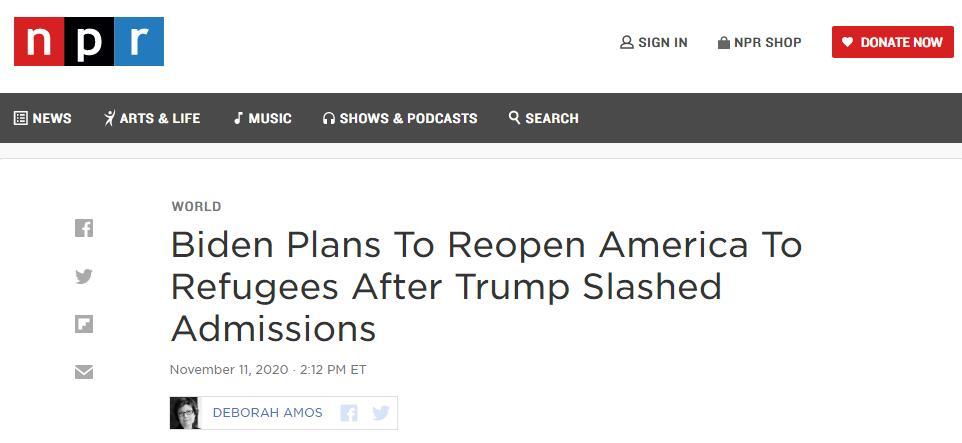 (NPR:在特朗普大幅削减难民接收人数后,拜登计划重新向难民开放美国)