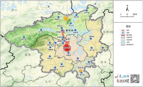 大南昌都市圈范围示意图