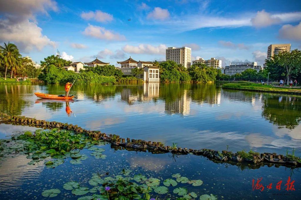 三角池公园明亮如镜的湖面,映衬着蓝天白云。海口日报记者 康登淋 摄
