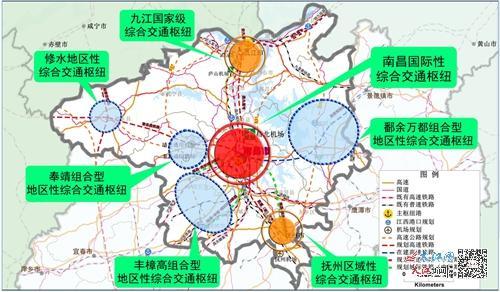 """大南昌都市圈""""一核六中心""""综合交通枢纽城市示意图"""