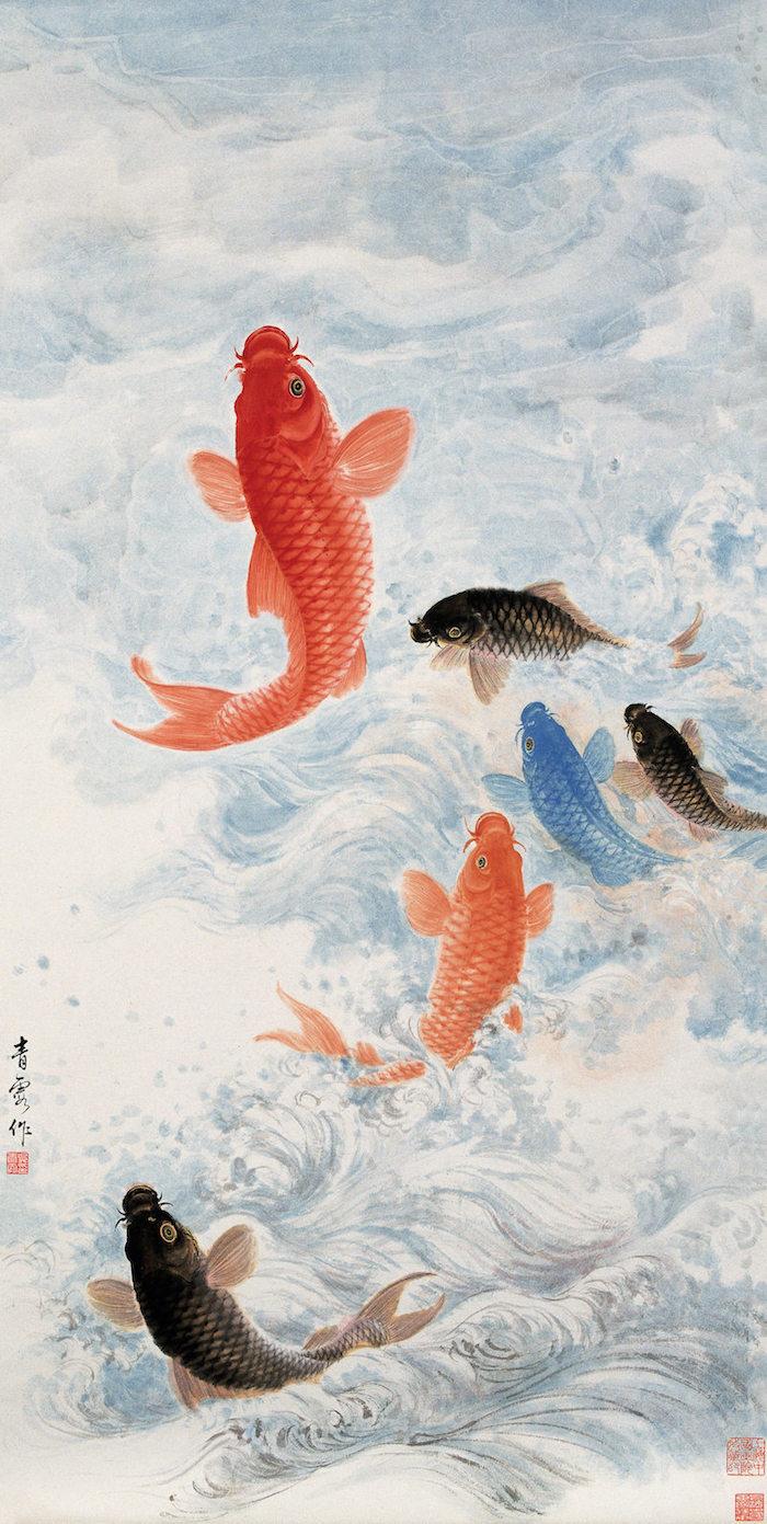 吴青霞《鱼跃》纸本设色  1963年
