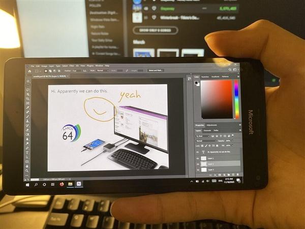 微软Lumia 950 XL焕新生:可运行桌面版Photoshop