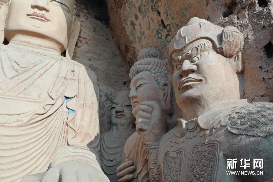 11月19日拍摄的天梯山石窟13号窟(无人机照片)新华社记者 杜哲宇 摄