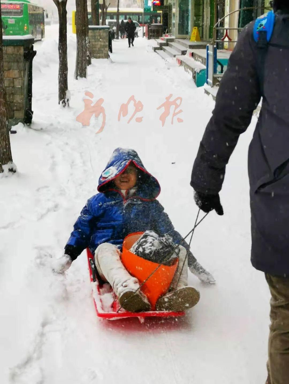 坐着雪橇回家。哈尔滨日报手机记者 史桂琴 摄